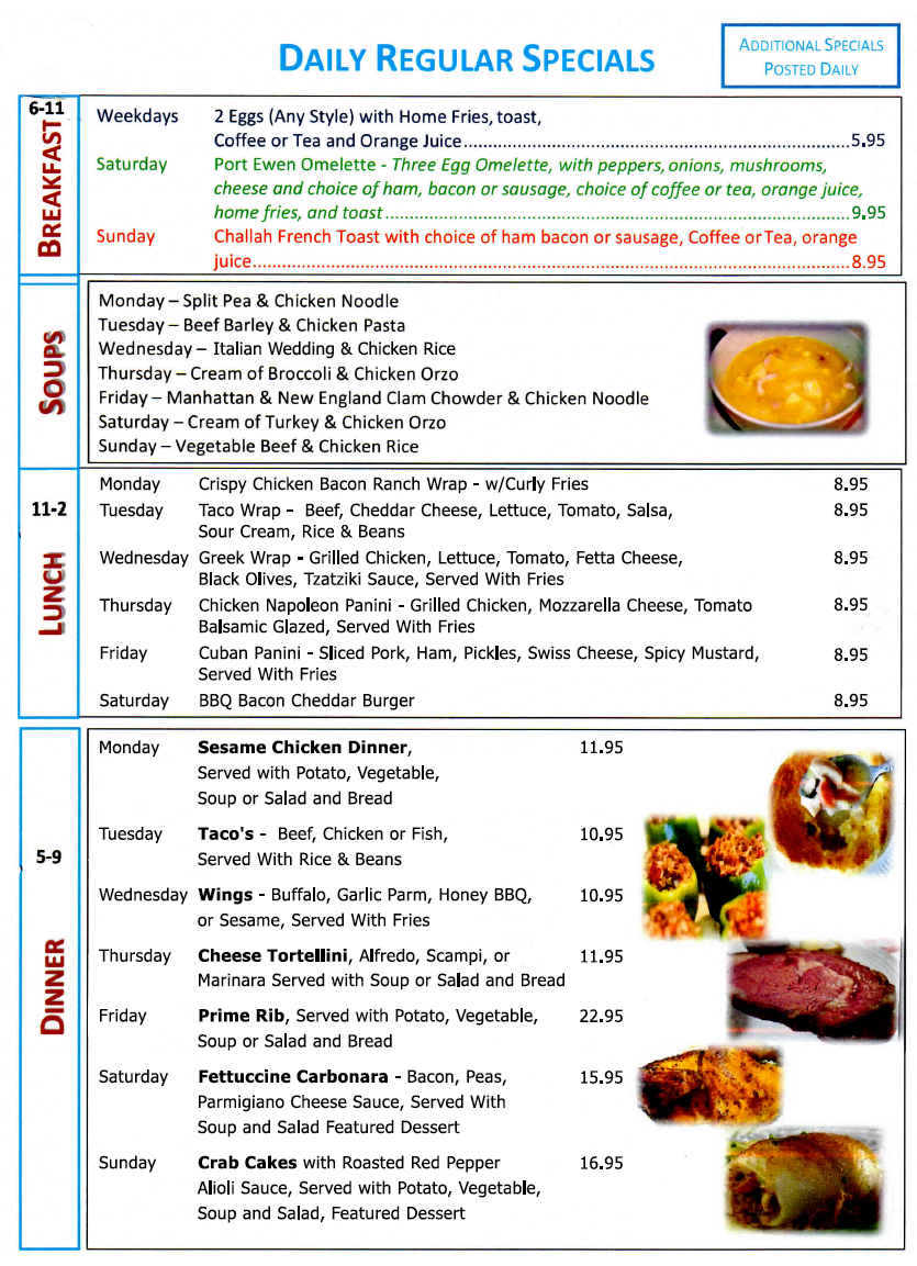 Port Ewen Diner daily Specials