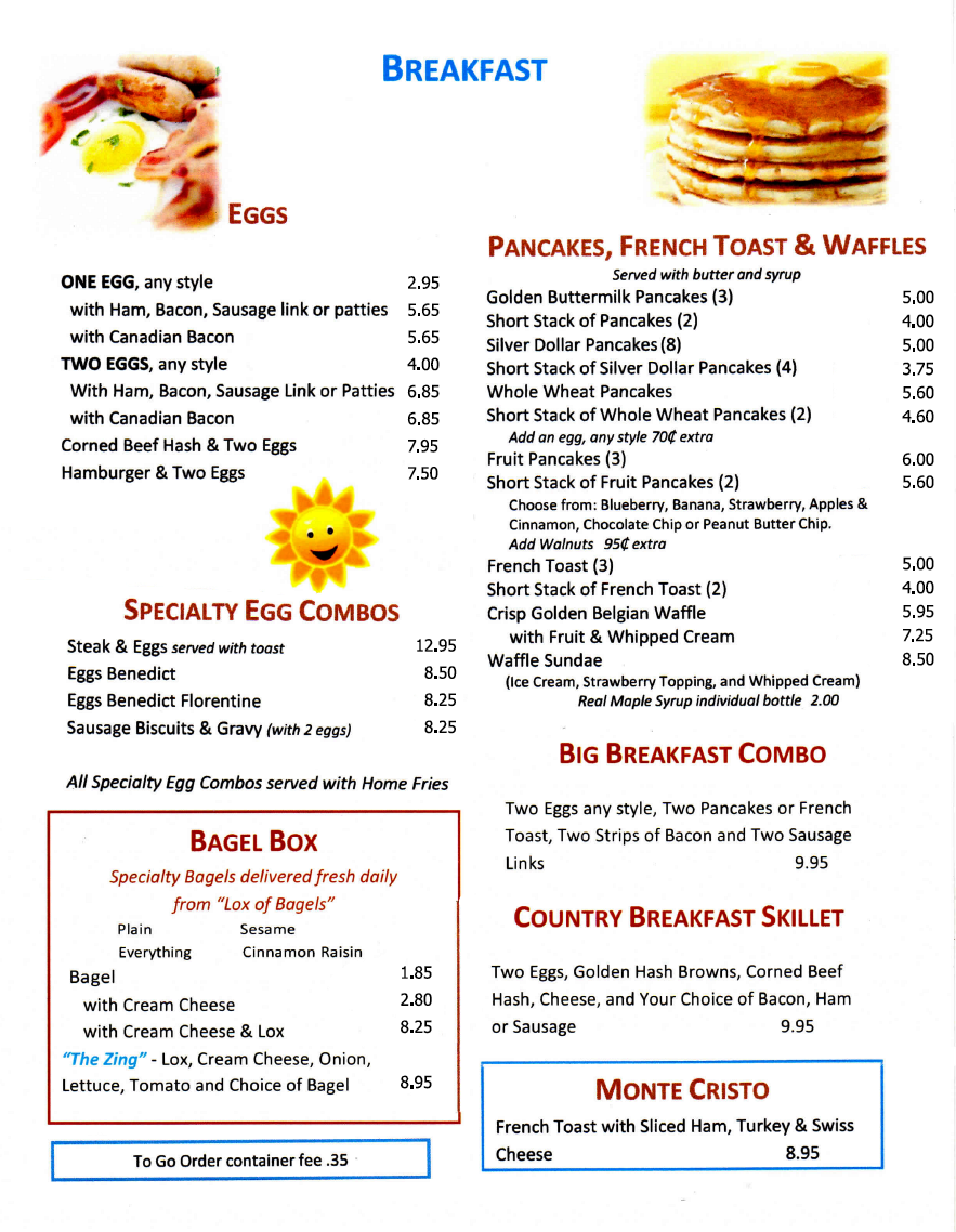 Port Ewen Diner breakfast menu 2020