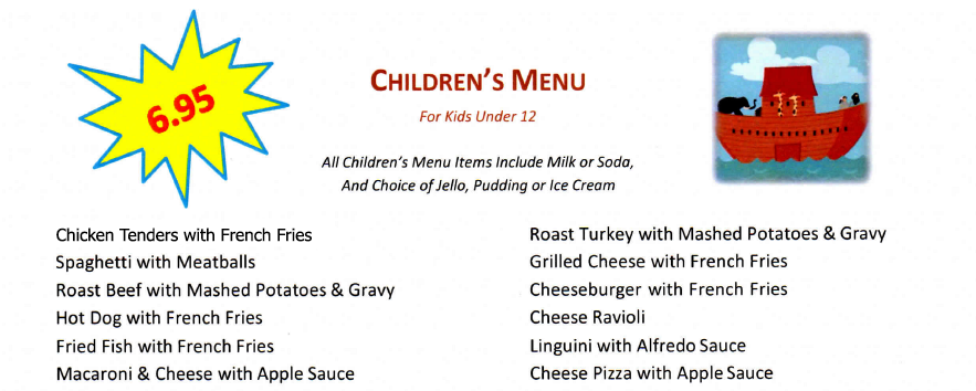 Port Ewen Diner children's menu