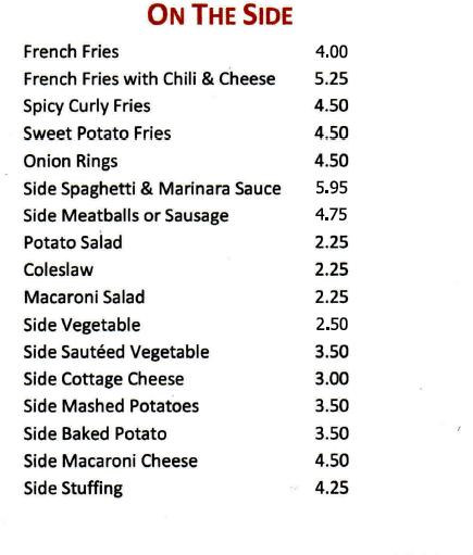 Port Ewen Diner on the side orders