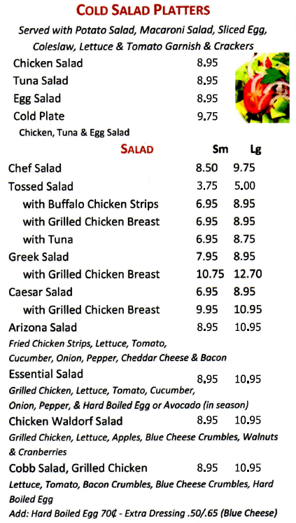 Port Ewen Diner salads and cold platters
