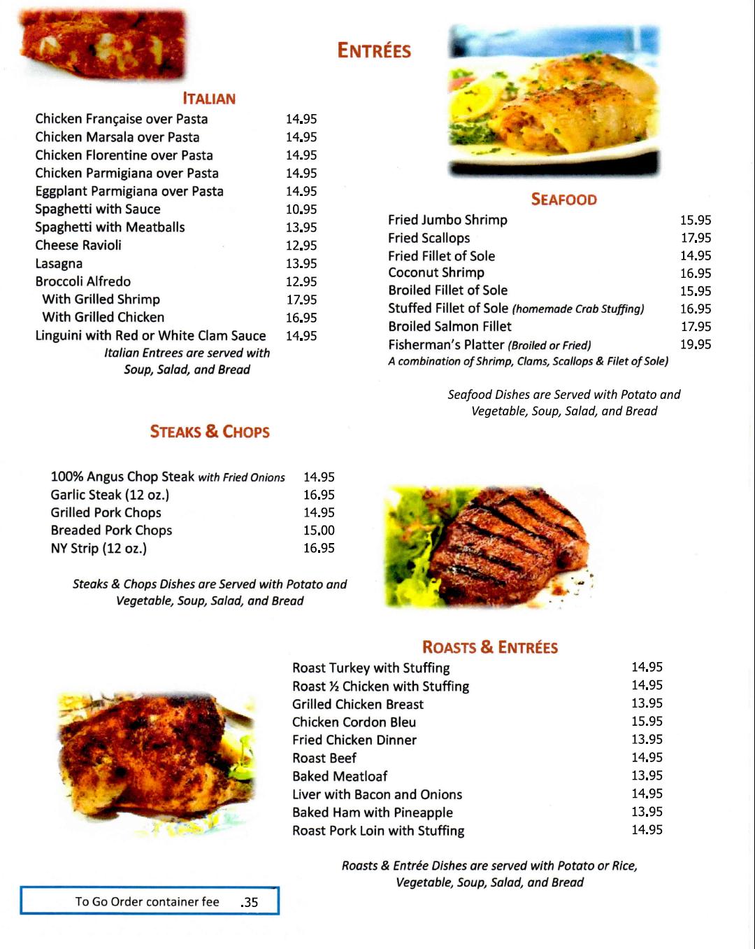 Entrees menu for Port Ewen 2021